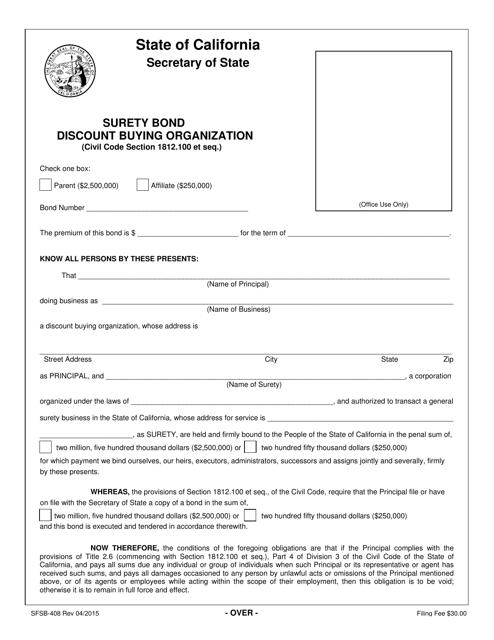 Form SFSB-408  Printable Pdf