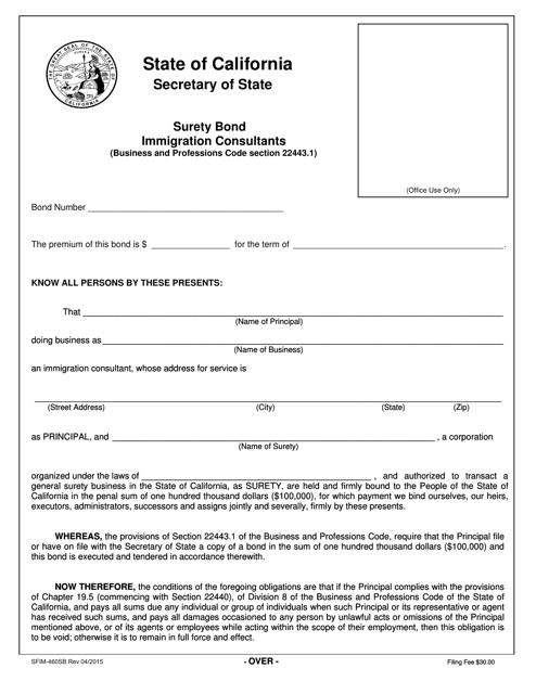 Form SFIM-460SB  Printable Pdf