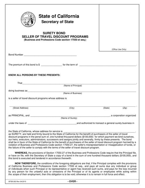 Form SFSB-263  Printable Pdf