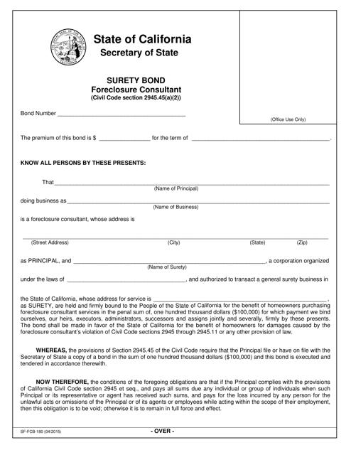 Form SF-FCB-180  Printable Pdf