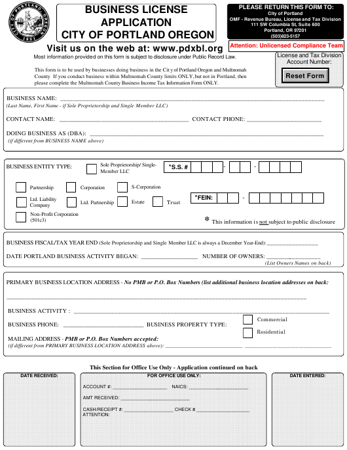 """Business License Application Form"" - City of Portland, Oregon Download Pdf"