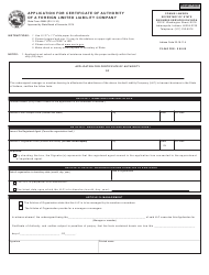 State Form 49464 Application for Certificate of Authority of a Foreign Limited Liability Company - Indiana