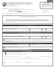 """State Form 49464 """"Application for Certificate of Authority of a Foreign Limited Liability Company"""" - Indiana"""