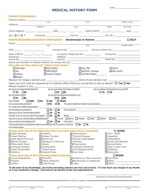 """""""Dental Medical History Form"""" Download Pdf"""