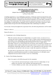 """Healing Separation: Agreement Form - Denver Psychotherapy and Consultation Services, Llc"""