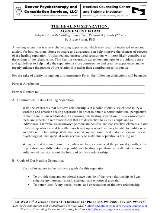 """Healing Separation: Agreement Form - Denver Psychotherapy and Consultation Services, Llc"" Download Pdf"