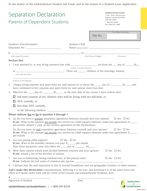 """Separation Declaration Form - Parents of Dependent Students"" - Saskatchewan, Canada Download Pdf"