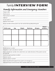 """""""Family Interview Form for Babysitters"""""""