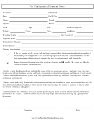 """Pet Euthanasia Consent Form"""