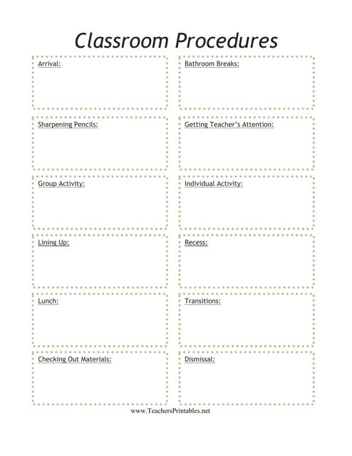 """Classroom Schedule Template"" Download Pdf"