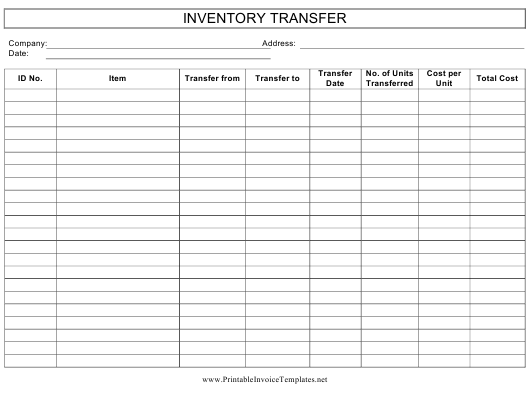 """""""Inventory Transfer Template"""" Download Pdf"""