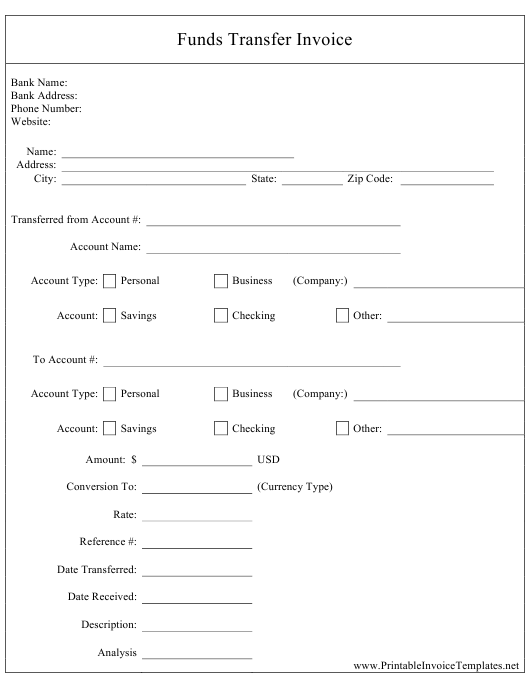 """""""Funds Transfer Invoice Template"""" Download Pdf"""
