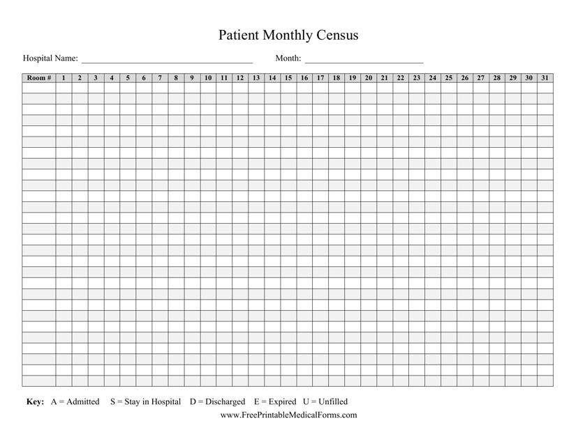 """Patient Monthly Census Form"" Download Pdf"
