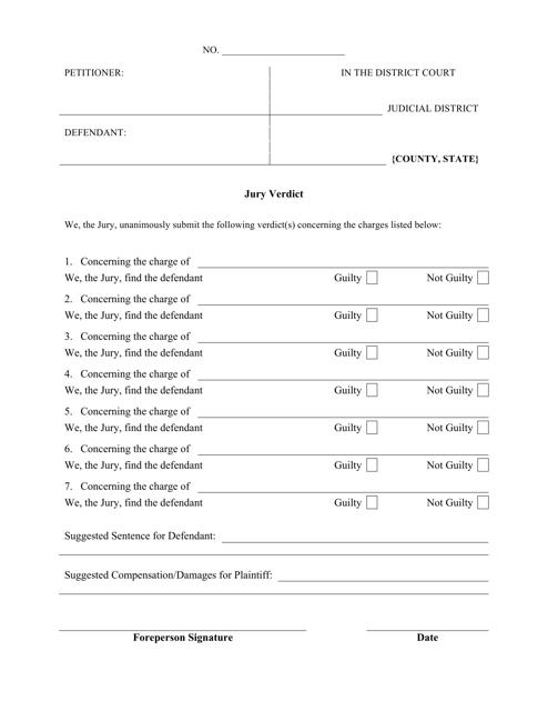 """Jury Verdict Form"" Download Pdf"