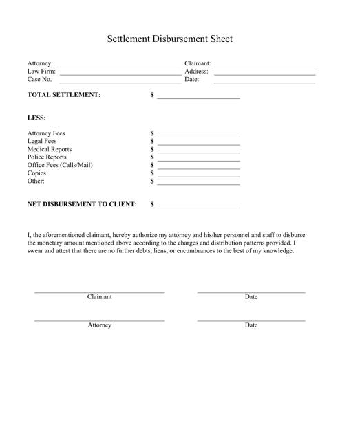 """""""Settlement Disbursement Sheet Template"""" Download Pdf"""