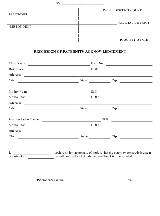 """Rescission of Paternity Acknowledgement Form"" Download Pdf"