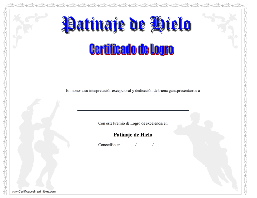 """Certificado Do Logro En Patinaje De Hielo"" (Spanish) Download Pdf"