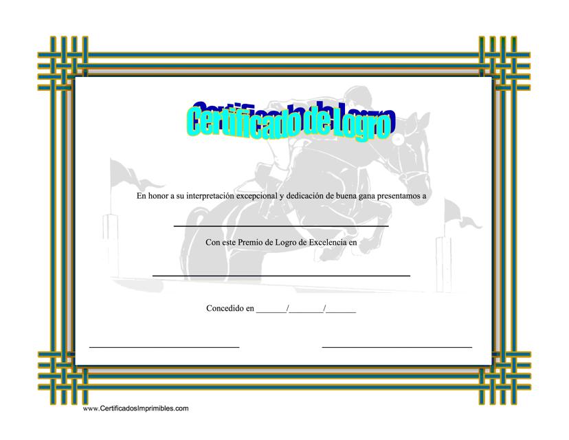 """""""Certificado De Logro En Equestrianismo"""" (Spanish) Download Pdf"""