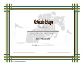 Certificado De Logro En Equestrianismo