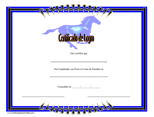 """Certificado De Logro En Equestrianismo"" (Spanish) Download Pdf"