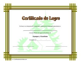 """""""Certificado Do Logro En Acampar Y Escutismo"""" (Spanish)"""