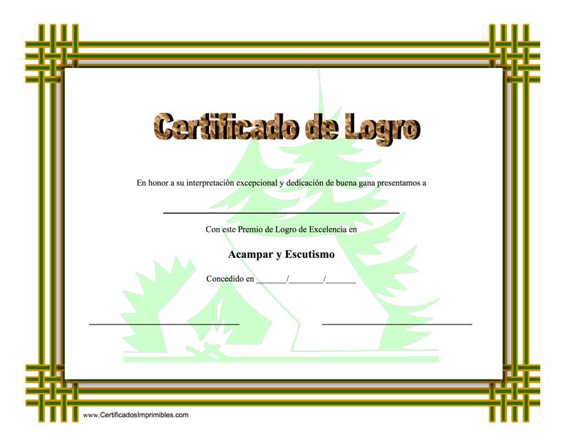 """""""Certificado Do Logro En Acampar Y Escutismo"""" (Spanish) Download Pdf"""