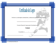 """Certificado Do Logro En Futbol"" (Spanish)"