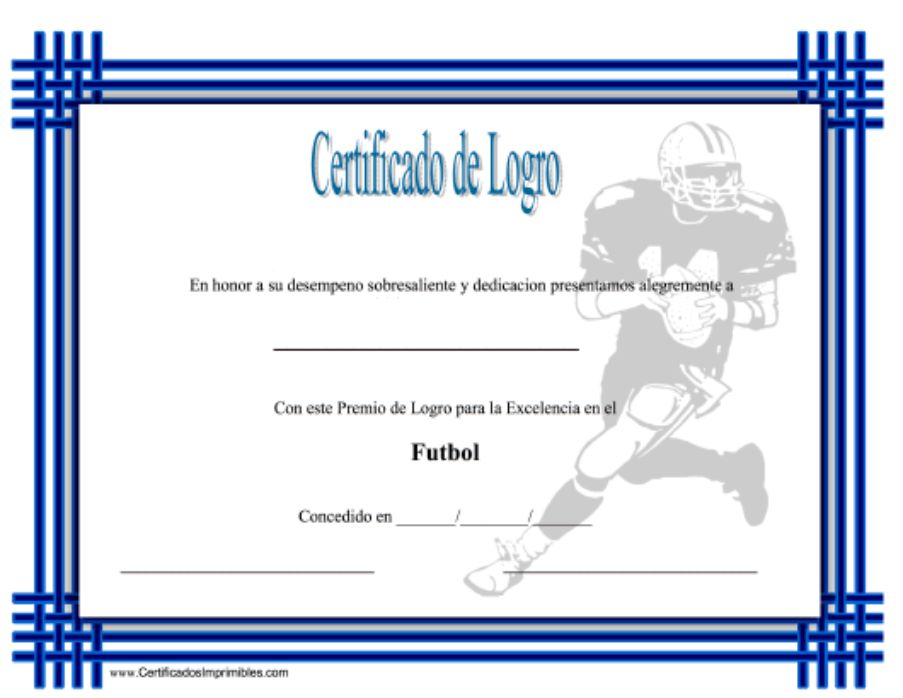 """""""Certificado Do Logro En Futbol"""" (Spanish) Download Pdf"""