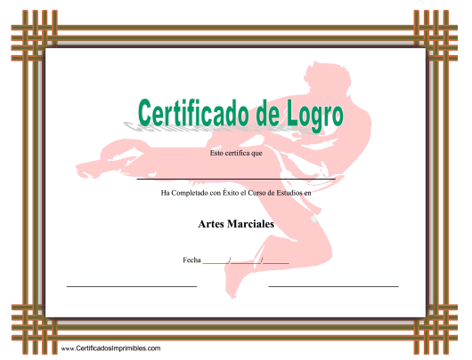 """Certificado Do Logro En Artes Marciales"" (Spanish) Download Pdf"
