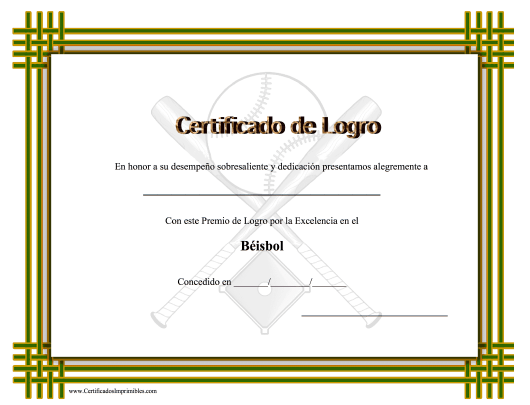 """Certificado Do Logro En Beisbol"" (Spanish) Download Pdf"