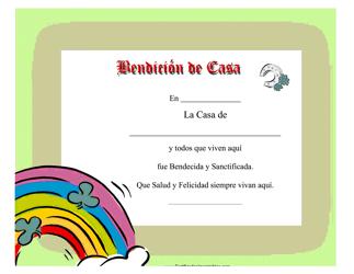 """""""Certificado De Bendicion De Casa"""" (Spanish)"""