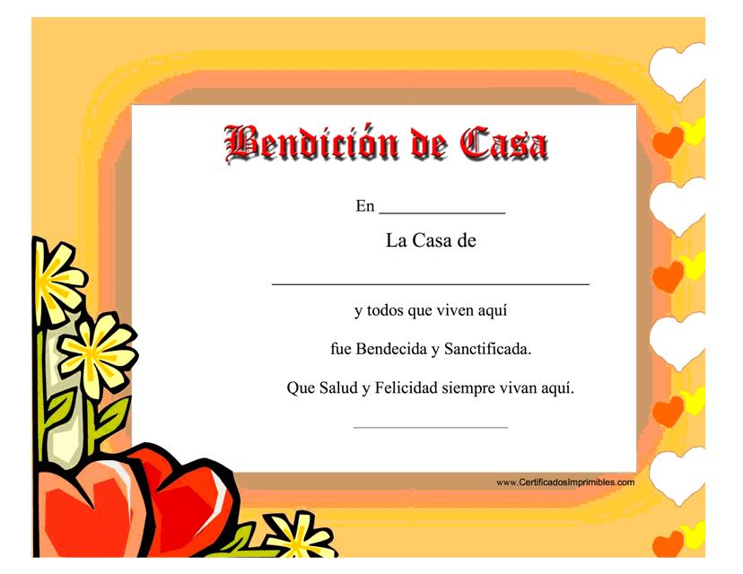"""""""Certificado De Bendicion De Casa"""" (Spanish) Download Pdf"""