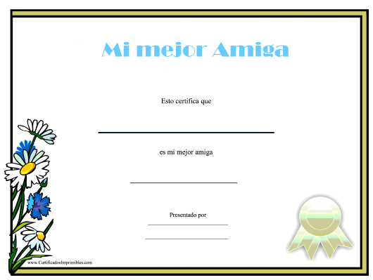 """Mi Mejor Amiga Certificado"" (Spanish) Download Pdf"