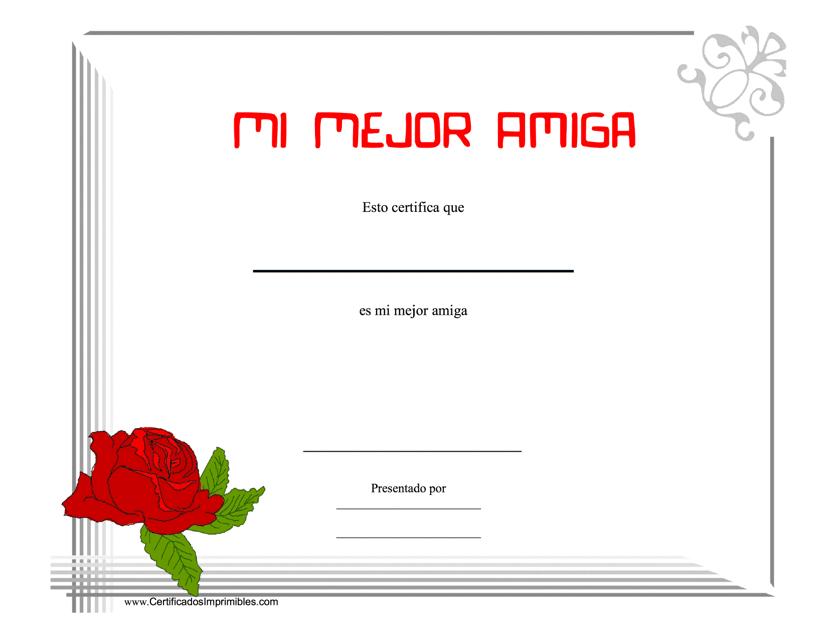 """""""Mi Mejor Amiga Certificado"""" (Spanish) Download Pdf"""