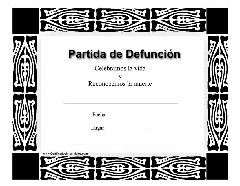 """""""Certificado De Partida De Defuncion"""" (Spanish) Download Pdf"""
