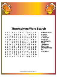 Thanksgiving Word Search Puzzle Template