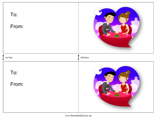 """""""Date Night Gift Card Template"""" Download Pdf"""