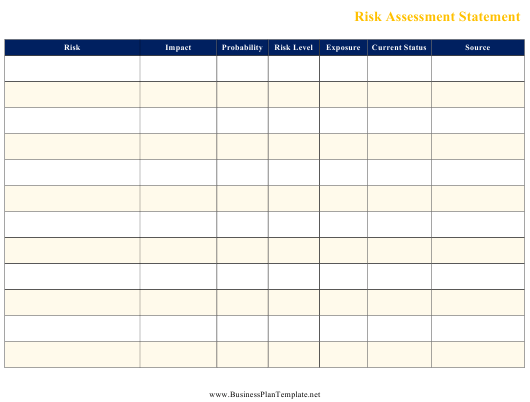 """Risk Assessment Statement Template"" Download Pdf"
