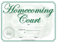 Homecoming Court Certificate Template