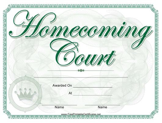 """""""Homecoming Court Certificate Template"""" Download Pdf"""