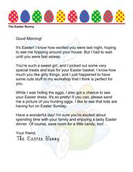 Sample Easter Bunny Letter