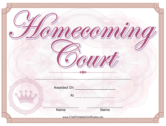 """Homecoming Court Certificate Template"" Download Pdf"