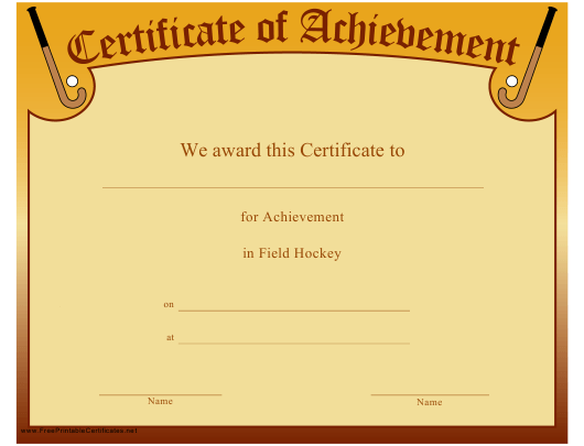 """Field Hockey Certificate of Achievement Template"" Download Pdf"