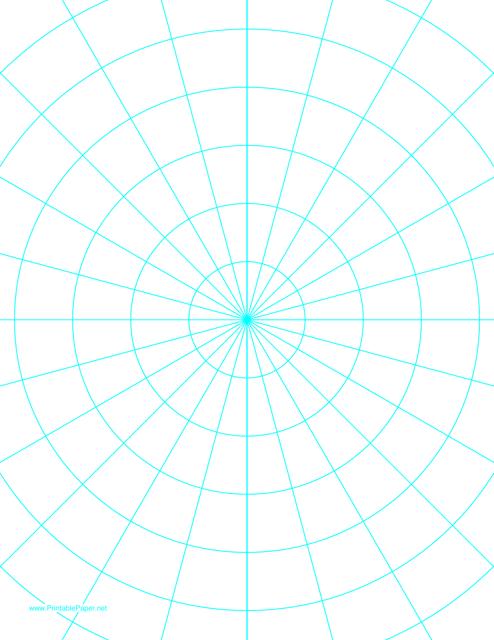 Cyan Polar Graph Paper Template Download Printable PDF | Templateroller