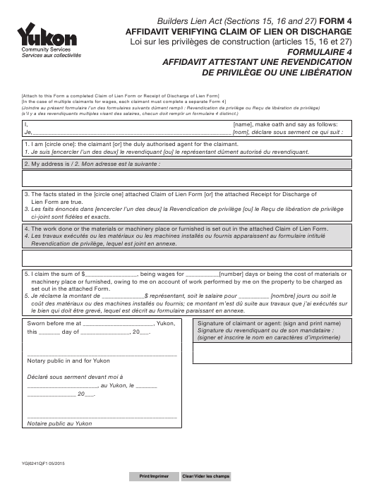Form 4 (YG6241) Printable Pdf