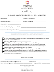 """Special Rehabilitation Services for Id/RC Application Form"" - Utah"
