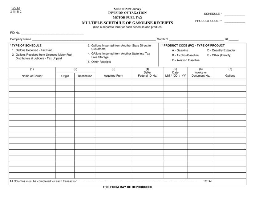 Form GA-1A  Printable Pdf