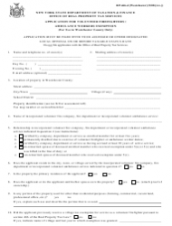Form RP-466-d Application Form for Volunteer Firefighters / Ambulance Workers Exemption - New York