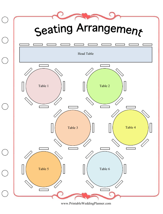 """Wedding Seating Arrangement Template"" Download Pdf"