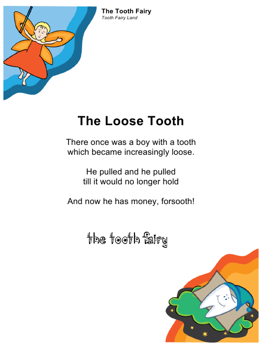 "Sample ""Tooth Fairy Letter for a Boy"" Download Pdf"